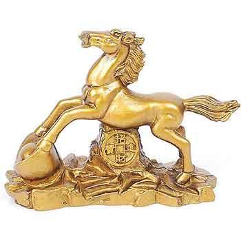 Cal pe munte de aur cu moneda norocoasa si pepita, statueta Feng Shui pentru cariera si prosperitate, auriu