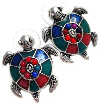 Cercei, broasca testoasa, amuleta pentru noroc, multicolor