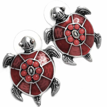 Cercei, broasca testoasa, amuleta pentru noroc, rosii