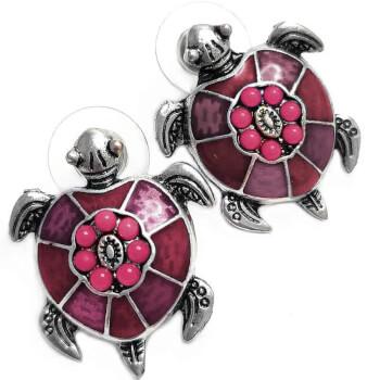 Cercei, broasca testoasa, amuleta pentru noroc, roz