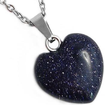 Colier piatra soarelui inima albastra, set cu lantisor argintiu, amuleta pentru noroc