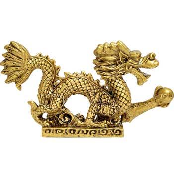 Dragon cu perla nemuririi, obiect feng shui pentru bogatie, auriu