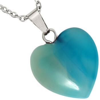Pandantiv cu agat turcoase in forma de inima, set cu lantisor argintiu inoxidabil, piatra semipretioasa pentru mentinerea pacii