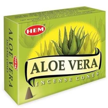 Conuri parfumate Aloe Vera, HEM profesional, actiune antiinflamatorie si antioxidanta, 10 conuri (25g) aromaterapie, suport metalic inclus