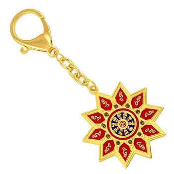 Amuleta cu 10 silabe Hum si roata dharmei a norocului, pentru armonie interioara si protectie de ghinioane