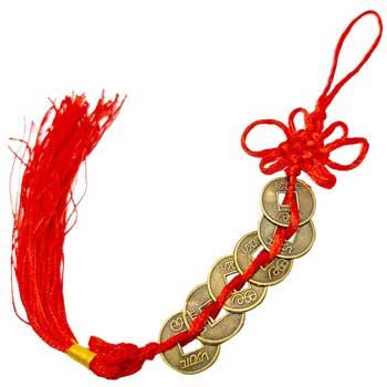 Amuleta 6 monede chinezesti feng shui pentru noroc divin, prosperitate si succes in calatorii cu nod mistic de protectie, rosu