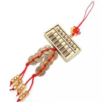 Amuleta Feng Shui Abac, obiect Feng Shui pentru prosperitate in afaceri si succes la examene, calculator chinezesc si monede