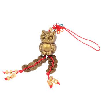 Bufnita, nod mistic si monede norocoase, amuleta feng shui pentru intelepciune si invatare, rasina, auriu