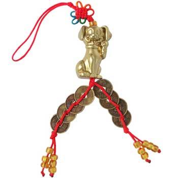 Amuleta cu caine, nod mistic de protectie si 8 monede chinezesti norocoase, pentru sinceritate si prietenie