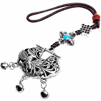 Cufarul abundentei cu pasarea colibri si floarea cu 5 petale, amuleta feng shui pentru bogatie, energie si oportunitati, ornamentatie metal argintiu