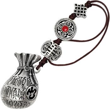 Desaga bogatiei cu lilieci si nod mistic, amuleta feng shui pentru bani, accesoriu decorativ, metal argintiu