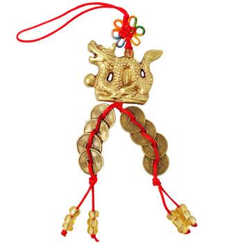 Dragon cu perla nemuririi si 8 monede norocoase, amuleta feng shui pentru oportunitati in cariera si afaceri