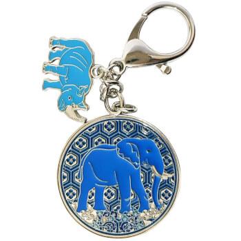 Amuleta protectie accidente breloc rinocer si elefant albastri, contra furturilor si infidelitatii, metal de calitate