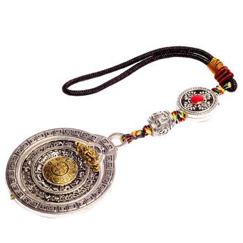 Amuleta 8 simboluri norocoasa Ashtamangala Feng Shui, pentru multiplicarea norocului, in casa, masina sau geanta, metal premium