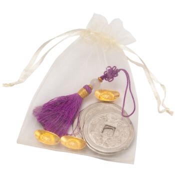 Saculet cu 5 monede argintii, 3 pepite si nod mistic violet, set amulete feng shui pentru prosperitate