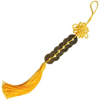 Nod mistic galben cu 5 monede chinezesti, amuleta pentru protectie si noroc bani, culoare galben, 32 cm