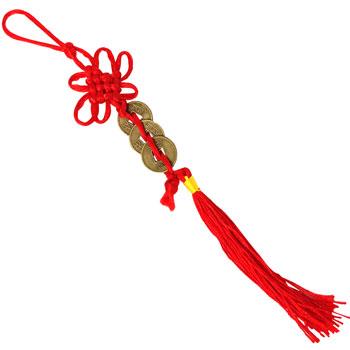 Amuleta cu 3 monede chinezesti norocoase si nod mistic, activator Feng Shui pentru bani, rosu