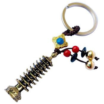 Breloc pagoda celor 9 elemente, amuleta feng shui pentru educatie, obiect auriu vintage, metal