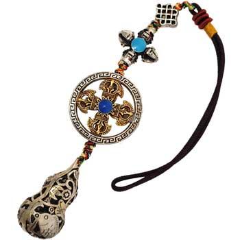 Amuleta protectie sanatate Wu Lou cu lilieci pestii Koi lotus, accesoriu premim pentru casa, masina sau geanta, metal broderie, 190 mm