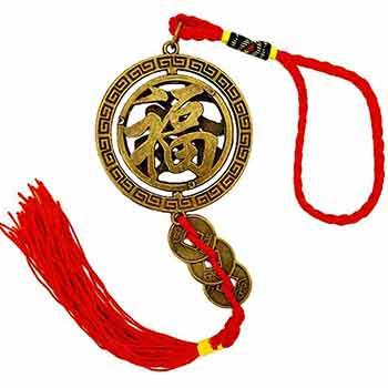 Amuleta antiaccidente, obiect feng shui pentru protectie impotriva accidentelor, cu monede norocoase