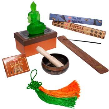 Purificarea casei kit premium, 7 remedii feng shui pentru curatarea casei de energii negative si alungarea a spiritelor rele, Buddha cristal verde cu bol tibetan si nod protectie, betisoare si conuri