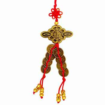 Nod mistic pentru protectia casei si familiei, amulete feng shui cu monede chinezesti pentru bani, dragoste si protecție de ghinioane