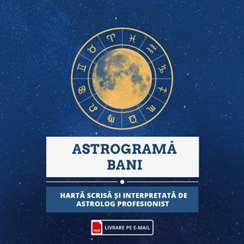 Bani astrograma de evolutie in plan financiar pe etape din viata, harta consultata si redata de astrolog profesionist, audio, cca 60 min