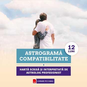 Astrograma cu evolutia relatiei 12 luni, evolutie relationala pentru urmatoarea perioada de 12 luni, cca 60 minute cu astrolog profesionist Zodiacool