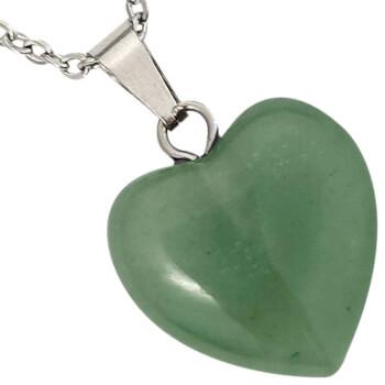 Pandantiv cu aventurin, in forma de inima, set cu lantisor argintiu inoxidabil, piatra semipretioasa pentru atragerea bunastarii
