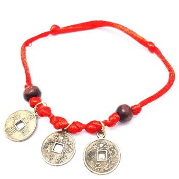 Bratara reglabila cu 3 monede chinezesti, monede pentru noroc, bani si succes, snur rosu