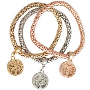 Bratara pentru noroc in dragoste, 3 straturi, cu talisman Copacul Vietii in pandantiv, multicolora