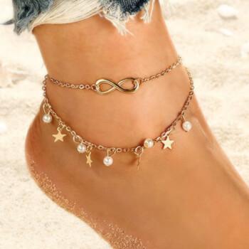 Bratara de picior cifra 8 perle stelute, simbolul infinitului pentru bunastare, aurie