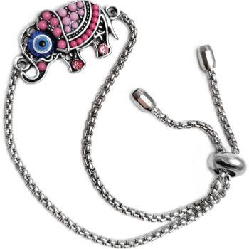 Bratara Elefant cu trompa in sus, talisman pentru dragoste si bun augur, roz