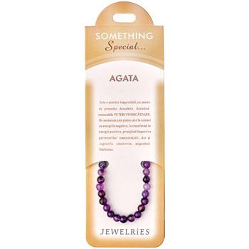 Set bratara Agate Mov cu felicitare personalizata, talisman pentru eliberare de manie si dependente, pietre semipretioase, 8 mm