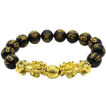 Bratara Pi Xiu si mantre de protectie pe imitatie de piatra obsidian negru, pentru atragerea bogatiei si noroc, elastic ajustabil