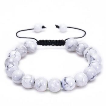 Bratara howlit alb piatra semipretioasa naturala pentru reducerea anxietatii, stresului si calmarea emotiilor, snur reglabil