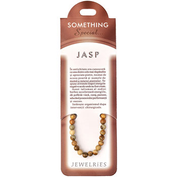 Set bratara Jasp cu felicitare personalizata, talisman pentru vindecare si incredere, pietre semipretioase rotunde antic