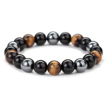 Bratara pietre semipretioase naturale Obsidian, Ochi de tigru si Hematit, pentru protectie, calm si incredere, pietre 10 mm
