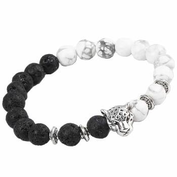 Bratara yin yang onix alb si roca vulcanica negru cu cap de tigru, impulsioneaza aromonia si intelepciunea