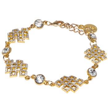 Bratara mantra de protectie si noduri mistice, bijuterii simboluri sacre din strasuri si cristale sticla, auriu