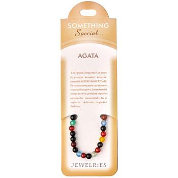 Set bratara Agata multicolor cu felicitare personalizata, talisman impotriva energiilor negative, pietre semipretioase rotunde 6 mm