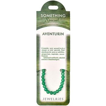 Set bratara Aventurin cu felicitare personalizata, talisman pentru succes financiar, pietre semipretioase rotunde 8 mm
