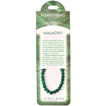 Set bratara Malachit cu felicitare personalizata, talisman succes in afaceri, pietre semipretioase rotunde