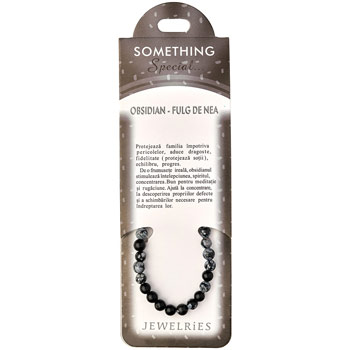 Set bratara Obsidian Fulg de nea cu felicitare personalizata, talisman impotriva pericolelor, pietre semipretioase rotunde