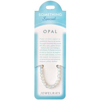 Set bratara Opal cu felicitare personalizata, talisman de inlaturare a inhibitiilor si protectie, pietre semipretioase rotunde