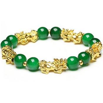 Bratara feng shui cu Pi Xiu si jad verde, pentru protectie energie negativa, elastica