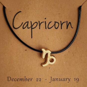 Capricorn, bratari cu snur si zodii, semn zodiacal pamant, reglabil negru