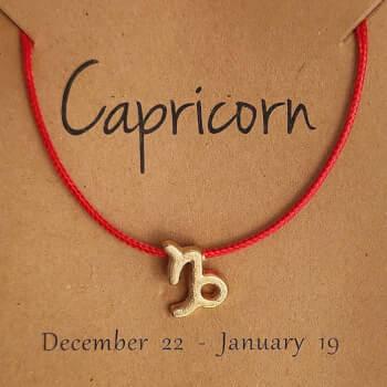 Capricorn, bratari cu snur si zodii, semn zodiacal pamant, reglabil rosu
