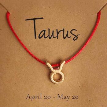 Bratari cu snur si zodii, semn zodiacal Taur, reglabil rosu