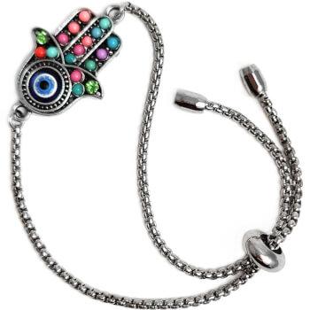 Bratara Mana Fatimei si ochiul lui Horus, talisman impotriva energiilor negative, multicolor